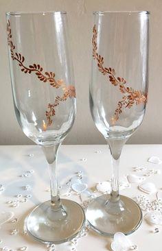 Wedding gift, engagement gift, champagne flutes, copper vine, hand painted, wedding planner, wedding inspiration, wedding gift, elegant by DragonflyArtDesign1 on Etsy