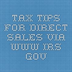 Tax tips for direct sales via www.irs.gov