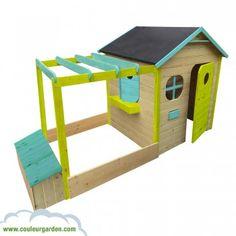 Maison de jardin avec pergola Bac à sable Coffre a jouet