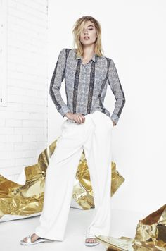 ANIMAL NITRATE CHIFFON SHIRT IN SNAKE PRINT AND THE WITCH CREPE TROUSERS IN EGRET http://fallwinterspringsummer.com
