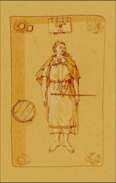 Grave Bj.660 from Birka, Sweden. Womans grave, with staff, in the book The Viking Way Religion and War in the Later Iron Age of Scandinavia by Neil Price. Drawing by Thórhallur Thráinsson.