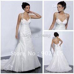 Wholesale Dress In Stock Inexpensive Halter Taffeta Casual Beach Wedding Dress, Free shipping, $136.64-153.44/Piece | DHgate