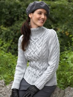 Intricate aran-style cable sweater with delicate braided accents. Shown in Bernat Satin--Sterling Cables Sweater Free Aran Knitting Patterns, Cable Knitting, Knit Patterns, Free Knitting, Sweater Patterns, Knitting Gauge, Knitting Needles, Cable Sweater, Pulls