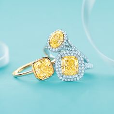 Tiffany & Co. yellow diamond rings, from left: Tiffany Bezet in 18k gold, Tiffany Soleste® oval in platinum and gold and Tiffany Soleste® in platinum and 18k gold. #TiffanyPinterest