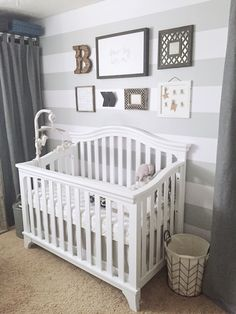 Ideas Baby Nursery Layout Striped Walls For 2019 Baby Bedroom, Baby Boy Rooms, Baby Room Decor, Baby Boy Nurseries, Nursery Room, Nursery Ideas, Baby Nursery Furniture, Baby Bedding, Nursery Bedding