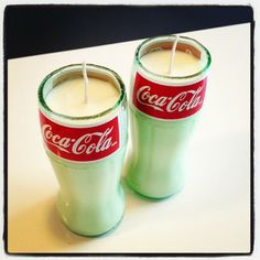 Hand poured clean burning soy wax is gently poured into this cut and recycled glass Coca-Cola Bottle. The wick will burn clean and slow as the warm aroma fills your home. The aroma of carbonated cola. You can actually smell the carbonation! - $22.99 each