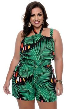 Macaquinho Plus Size Izzie| Daluz Plus Size - Loja Online - Daluz Plus Size | Loja Online Curvy Girl Fashion, Plus Size Fashion, Modelos Plus Size, Looks Plus Size, Moda Plus Size, Plus Size Beauty, Fashion Outfits, Womens Fashion, Playsuit