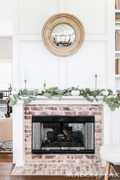 Antique Brick and White Molding Fireplace Makeover Looking for fireplace makeover ideas? See how this awkward glass fireplace was transformed into an elegant classic with antique brick, white molding, and a gas insert. Brick Fireplace Makeover, White Fireplace, Fireplace Design, Fireplace Molding, Fireplace Mantles, White Brick Fireplaces, White Mantle Fireplace, Fireplace Mortar, Vintage Fireplace