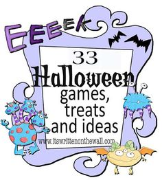 It's Written on the Wall: 23 Fun Halloween Games, Treats and Ideas for your Halloween Party. or School parties. Halloween Tags, Fun Halloween Games, Halloween Birthday, Holidays Halloween, Halloween Crafts, Happy Halloween, Halloween Decorations, Halloween Stuff, Halloween