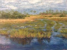 """Daily Paintworks - """"Marsh Trails II"""" - Original Fine Art for Sale - © Lisa A. Zook"""