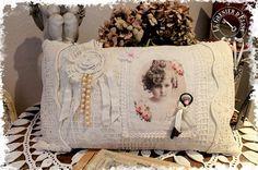 COUSSIN ET SA HOUSSE STYLE SHABBY : Textiles et tapis par le-grenier-d-elisa