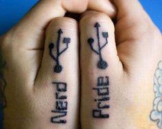 Proud of that USB port are you?! Nerdy Tattoos, Finger Tattoos, Cool Tattoos, Tatoos, Symbol For Family Tattoo, Family Tattoos, Geeks, Christina Perri, Symbolic Tattoos