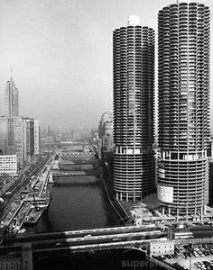skyscrapers along Chicago River, 1950s