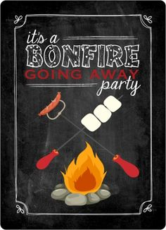 Chalkboard Bonfire Going Away Party Invitation by PurpleTrail.com. #campinginvitations #bonfirepartyinvitations #bonfireparty