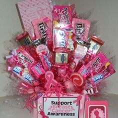 "Send a ""pink "" gift basket to someone you love Breast Cancer Party, Breast Cancer Crafts, Breast Cancer Fundraiser, Breast Cancer Walk, Breast Cancer Support, Breast Cancer Survivor, Breast Cancer Awareness, Play Therapy, Fiesta Party"