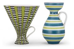 Two Stig Lindberg faience vases, Gustavsberg 1940's-50's.