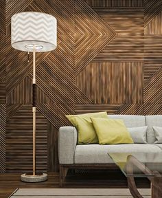 Wall Wood, Feature Walls, Wood Design, Sofa, Diy Sofa, Sofas, Couch