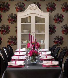 Decoración de Navidad para la Mesa, Colores Rosa y Negro.
