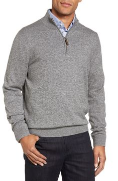 Men's Nordstrom Men's Shop Half Zip Cotton & Cashmere Pullover, Size X-Large - Grey Preppy Fall Fashion, Big Men Fashion, Work Fashion, Fashion Edgy, Fashion Ideas, Big And Tall Style, Man Dressing Style, Business Casual Men, Business Wear