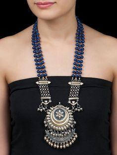 Buy Silver Golden Indigo Maharani Lapis Lazuli Necklace by Amrapali Jewelry Online at Jaypore.com #silvernicejewelry
