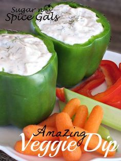 Amazing Veggie Dip from   Such a refreshing healthy snack!      # appetizer  cream #healthy #snacks #recipes