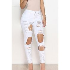 Yoins White High Waist Random Ripped Jeans ($20) ❤ liked on Polyvore featuring jeans, white, destroyed jeans, high waisted distressed jeans, high-waisted jeans, ripped jeans and torn jeans