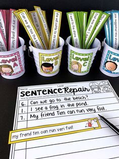 Sentence Editing Literacy Center Sentence Editing Literacy Center Julie Ann peacenpositive Special Education This workshop has students edit and correct the errors in the […] or kindergarten which is correct spelling Teaching Writing, Student Teaching, Writing Skills, Writing Activities, Classroom Activities, Classroom Ideas, Future Classroom, Kindergarten Literacy, Literacy Centers