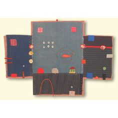 janet bolton - Google Search  oh say, can't you just see a house? fold up the walls and button them? ( and you can place little figures maybe made of tiny spools...  Otherwise, hang on a wall...