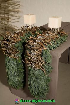Tablescape of evergreen boughs, twigs and berries. Christmas Flowers, Green Christmas, Christmas Home, Christmas Holidays, Christmas Wreaths, Christmas Crafts, Christmas Ornaments, Christmas Table Settings, Outdoor Christmas Decorations