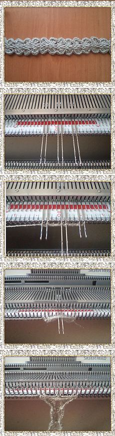 7 sts - set carriage to hold position - pull out 2 centre sts in non working position - rows - set carriage to normal - rows on all sts. Knitting Designs, Knitting Projects, Wire Crafts, Diy And Crafts, Lace Knitting, Knit Crochet, Knitting Machine Patterns, Shibori, Craft Items