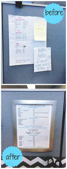 Frame your work notes for a cubicle desk makeover! I know you have at least 5 post-its cluttered in your work space with information you refer to every day.