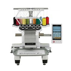 The Brother Entrepreneur Pro PR1000e, a 10-needle home embroidery machine, plus additional features and functions that deliver professional quality results. The PR1000e raises the bar in embroidery for hobbyists, crafters and home-based entrepreneurs. Finish most multi-color designs faster, easier, and with greater precision than with most single or 6-needle machines. Create professional results on a wide range of items with logos, monograms, and more!