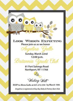 Yellow and Grey Chevron Baby Shower Owl by NCreativedesigns