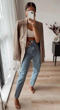 Cute Casual Outfits, Chic Outfits, Summer Outfits, Casual Heels Outfit, Blazer Outfits Casual, Casual Ootd, Simple Fall Outfits, Dinner Outfits, Woman Outfits