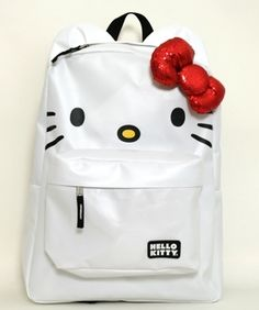 b9bdd67f88 Hello Kitty white backpack with ears and sequin red bow Hello Kitty  Backpacks