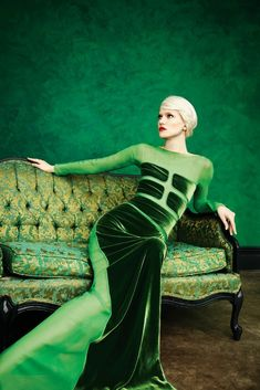 Emerald in fashion - love the contrasting materials (mesh, velvet, upholstery)...x _____________________________________ More illusions of structure in Devore.