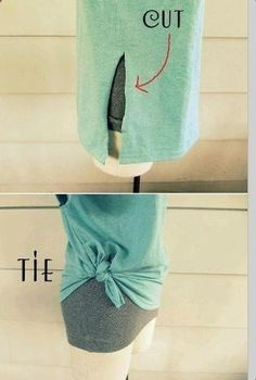 One cut to Tie a T-Shirt…great for too big tshirts! | DIY Family Time