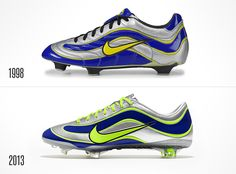 To celebrate 15 years of its line Mercurial developed for the Brazilian super star Ronaldo in Nike relaunched its boots again producing a limited edition of 1998 pairs in the eve of world cup 2014 in Brazil. Soccer Boots, Football Shoes, Soccer Cleats, Nike Soccer, Nike Football, Nike Shoes Cheap, Nike Shoes Outlet, Cheap Nike, Fantasy