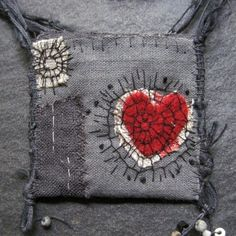 Your place to buy and sell all things handmade - fragile strength talisman open heart by mairedodd on Etsy - Textile Jewelry, Fabric Jewelry, Textile Art, Jewellery, Embroidery Stitches, Hand Embroidery, Talisman, Red Felt, Schmuck Design