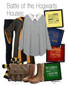 """Battle of the Hogwarts House Shoutout"" by rubytyra ❤ liked on Polyvore featuring Børn, Boris Bidjan Saberi and Retrò"