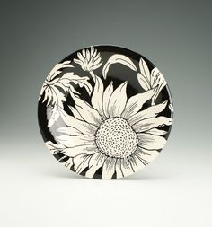 """hand painted sunflower dishes   ... 10"""" Sunflower Hand Painted Round Coupe Dinnerware Black and White"""