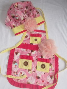 Apron Chef Hat in Cupcake Theme with a SECRET RECIPE included in pocket of yellow pink cherry flower on hat and apron by sewfun49 on Etsy
