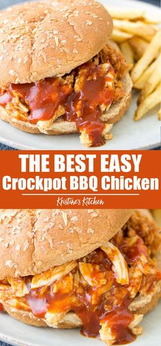 crockpot chicken easy This Crockpot BBQ Chicken recipe is the best quick and EASY dinner! This barbecue pulled chicken is so tender and flavorful! Make it with boneless chicken br Boneless Chicken Thighs Crockpot, Crockpot Shredded Bbq Chicken, Pulled Chicken Recipes, Baked Chicken, Boneless Chicken Breast, Recipe Chicken, Healthy Chicken, Grill Sandwich, Bbq Chicken Sandwich