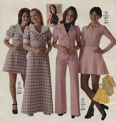 1973 fashion - I had a dress like the one on the far left except it was a smaller pink-and-white check. Seventies Fashion, 70s Fashion, Fashion History, Teen Fashion, Vintage Fashion, Womens Fashion, Fashion Styles, Fashion Outfits, Patti Hansen