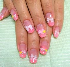 nails with little bows and hearts! too cute!