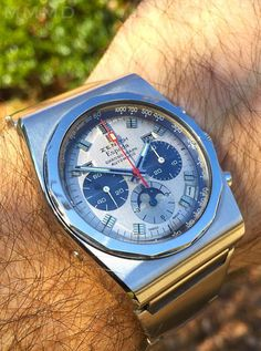 Superb Vintage Zenith Espada Triple-Date Moonphase Chronograph In Stainless Steel