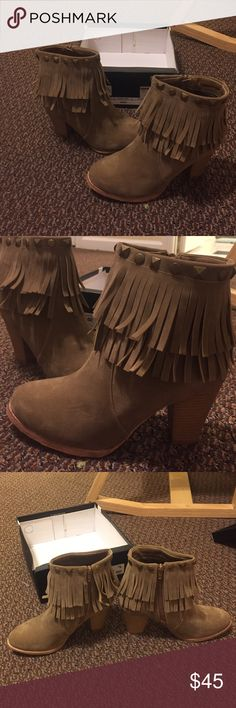Brand new fringe booties with box!!! These are ADORABLE! bought last week. Size 7. Unfortunately didn't fit! they are in perfect condition never worn! Not actually brandy, bought at a local botique just trying to give these the attention they deserve!!! Brandy Melville Shoes Ankle Boots & Booties