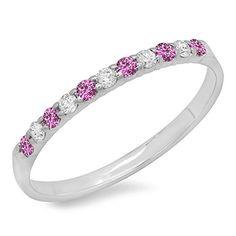 10K White Gold Round Pink Sapphire & White Diamond Anniversary Wedding Ring Stackable Band (Size 7) DazzlingRock Collection http://www.amazon.com/dp/B00TV36Z4C/ref=cm_sw_r_pi_dp_I2JPwb03FCZN7