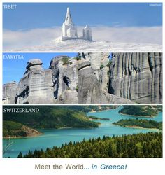 Meet the world.in Greece! From top to bottom: Kaimaktsalan ski resort (Greek Macedonia), Meteora (Thessaly), Lake Plastira. Places Around The World, Travel Around The World, Around The Worlds, Places To Travel, Places To Visit, Destinations, Paradise On Earth, Thessaloniki, France