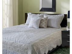 White Crewel Embroidered Hand Quilted bedspread